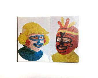 Large Fridge Magnet Collectable OOAK 'Weird Winter Kids Cagoules' Weird Magnet Funny Magnet Kitsch Bizarre Weirdo 1960s Childhood - No US-11