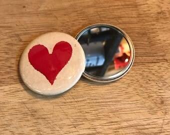 Heart button makeup mirror