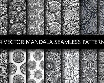Boho Drawing Mandala Seamless Patterns. Arabic Vector Ornaments. Indian Backdrops. Art Background, Wall Art, Eastern Clipart, Digital Images