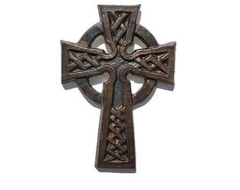 Handcrafted Wall Cross, Celtic Cross Wall decor, Ceramic Wall decor, Scottish, Celtic Knot, Renaissance Faire plaque, Medieval, Gothic