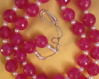 Thai natural ruby and freshwater pearl necklace