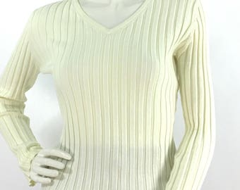 90s off white ribbed sweater/1990s ribbed sweater/vintage ivory sweater