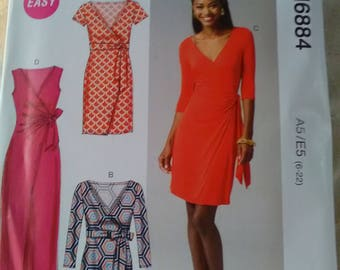 McCall's 6884 New sewing pattern. Mock wrap knit stretch dress 4 styles 6 - 20