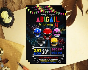 Power Ranger Invitation, Power Ranger Birthday, Power Ranger Invite, Power Ranger Party, Power Ranger Birthday Invite, Power Ranger, F1125