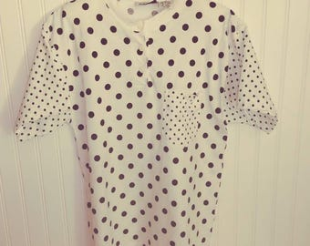 Vintage 1990s White T Shirt with Black Polk a Dots. Womans Large Vintage Tee. Pin up and Rockabilly Style.