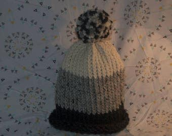Grey and White Color block Winter Beanie