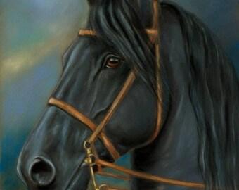 Friesian Stallion Horse Original Pastel Painting