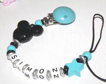 Pacifier turquoise and black