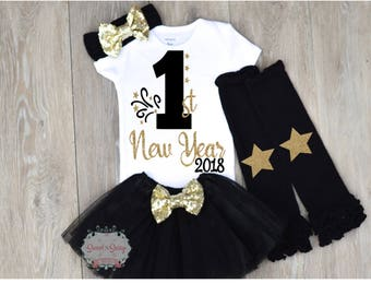 Baby Girl New Years Outfit, baby first new year outfit girl, Baby New Years Eve outfit, New Year's eve outfit, New Years headband, New Years