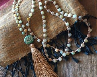 Mala Amazonite Bohemian Meditation Necklace