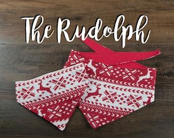 The Rudolph - Dog Bandana - Tie Up Bandana - Over the Collar Bandana - Double Sided Dog Bandana
