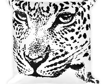 Black and White Pillow, Graphic Square Cushion Cover, Panther Face Animal Print Pattern, Modern Accent Pillow, Throw Pillow, Size 18x18 inch