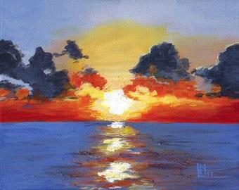 Fiery Sunset 8x10 Acrylic Painting