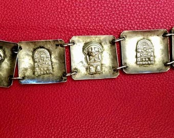 Peruvian Mayan design Sterling bracelet