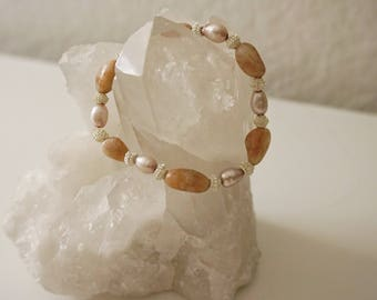 Sunstone and Pink Pearl Beaded Bracelet