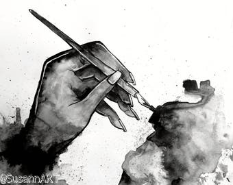 Ink painting - Hand holding a pen