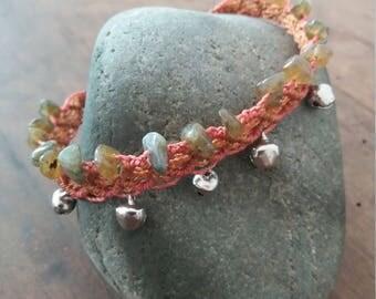 Labradorite and macramé ankle bracelet