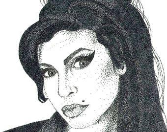 Amy Winehouse Pointillism Print (Digital Download)