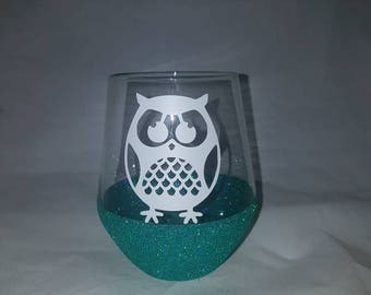 Owl wine glass, owl, owl wine set, birthday gift, stemless wine glass, mothers day, gifts for mum, gifts for sister, owl gifts
