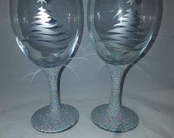 Silver Christmas glasses, sliver glitter glass set, Christmas glitter glasses, stocking filler gifts, Christmas glassware