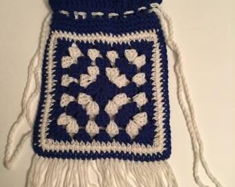 Blue and White Granny  Square Tote