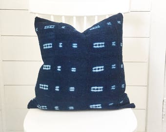 "20"" indigo vintage Mudcloth pillow cover"