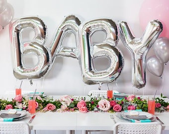 """40"""" Silver Baby Balloon Letters- Giant Silver Baby Letters- Baby Shower Silver Letters"""