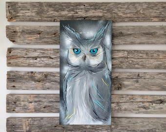 OWL canvas / / OWL painting / / artist Verovallieres / / original acrylic painting