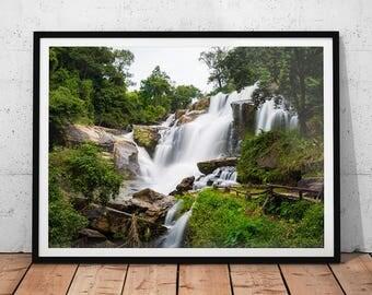 Waterfall Photo // Thailand Photography Print, Asia Home Decor, Nature Prints, Landscape Photo, Asian Wall Art, Fine Art Office Decor