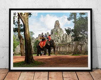 Bayon Temple Travel Photo // Cambodia Travel Photography, Buddhist Temple Wall Art, Angkor Home Decor, Asia Archaeology, Elephant Ride Photo