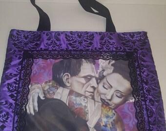 Frankenstein and bride of Frankenstein tote bag