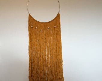 Yellow Hoop Yarn Wall Hanging