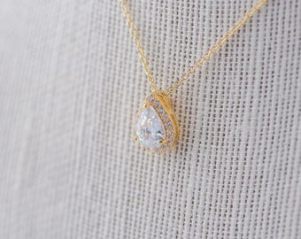 Teardrop Cubic Zirconia Pendant Necklace - Gold CZ Necklace, Bridal Necklace Wedding Necklace Crystal Rose Gold Necklace Bride Necklace