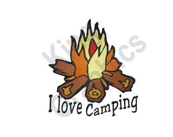 Campfire - Machine Embroidery Design, I Love Camping