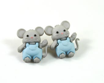 Mouse studs, Mouse earrings, Mouse jewelry, Cute mouse earrings