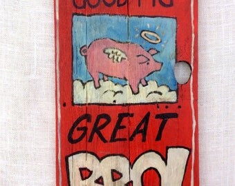 Rustic BBQ pig art.Perfect for mancave,kitchen or patio BBQ.Colorful and handpainted on reclaimed wood.