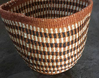 Storage Basket| Sisal Fruit Basket| African Basket| Handmade Basket| Brown Basket| Kenyan Sisal Basket Bag| Decorative basket| African Decor