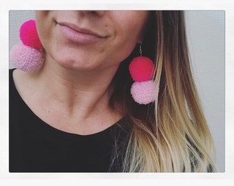 Double PomPom earring - Pink