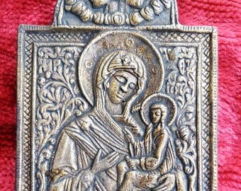Old Bizantine Brass Orthodox Icon Of Virgin Mary Mother of God