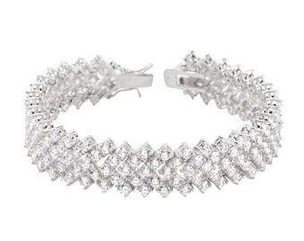 Chevron Cubic Zirconia Tennis Bracelet