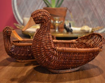 Vintage Woven Ducks Set of Two