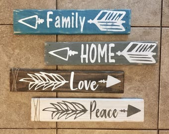 One word arrow signs set