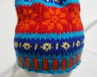 Handmade Fair Isle toque, childrens 3-7 year old
