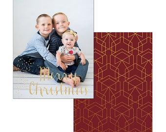 Red and gold glitter Christmas card template photography digital holiday custom