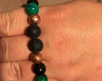 Natural Chrysocolla, Gold Sheen Obsidian and Copper Bracelet