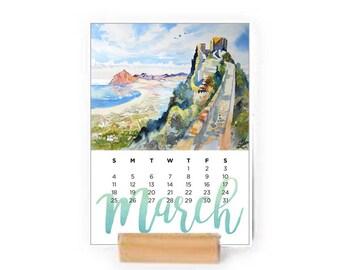 Easel Calendar 2018 Desk Calendar of watercolor landscapes, easel calendar, Home Decor, Housewarming Gift, Christmas Gift, New Year