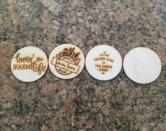 4 wooden customized coasters