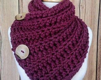 Chunky Cowl, Chunky Button Cowl Crochet Cowl, Crochet Button Cowl, Button Scarf, Chunky Button Scarf, Crochet Button Scarf, Cowl