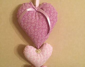 Trio of fabric Hearts