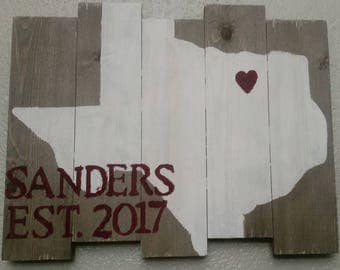 Wooden I Love Texas Sign